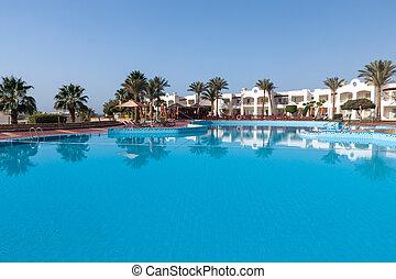 Luxury nice hotel swimming pool in the Egypt. - Luxury nice...