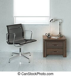Luxury office black armchair in wh