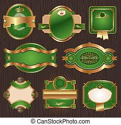 Luxury ornate framed labels - Vector vintage golden-green...