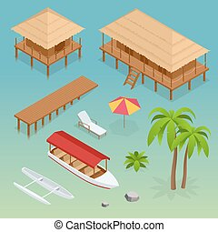 Luxury overwater thatched roof bungalow, bridge, palm tree,...