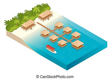 Luxury overwater thatched roof bungalow in a honeymoon vacation resort in the clear blue lagoon with a view on the tropical island. Tropical vacations. Isometric vector illustration
