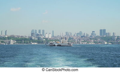 Luxury Passenger Ship in front Istanbul landscape