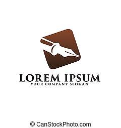 luxury pen logo. Fountain pen logo design concept template