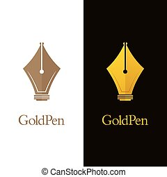 Luxury Pen Nib Logos - Minimal gold colored fountain pen ...