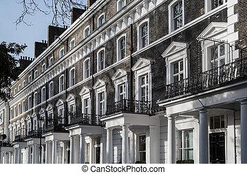 Luxury period housing along Onslow Square, South Kensington, London.