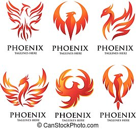 luxury phoenix logo set