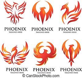 luxury phoenix logo set