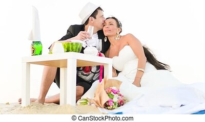 Luxury Picnic Honeymoon - Bridegroom and his bride together...