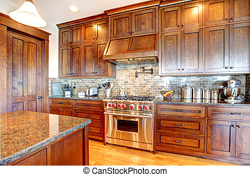 Luxury pine wood beautiful custom kitchen interior design. -...