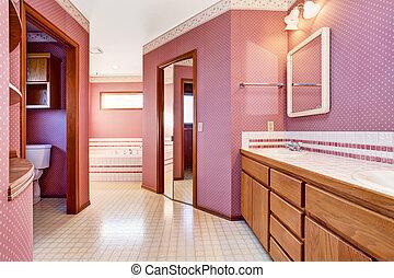 Luxury pink bathroom interior design.