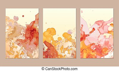 Luxury pink, yellow, gold marble flyers. Abstract background set.