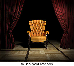 luxury place - luxury leather armchair and red curtain above...