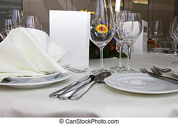 Luxury place setting with a menu card