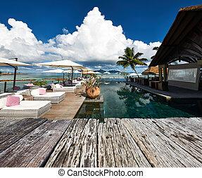 Luxury poolside jetty