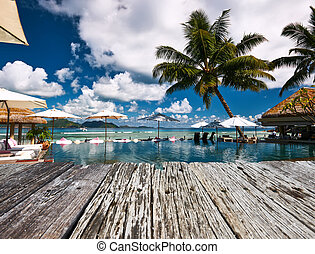 Luxury poolside jetty at Seychelles