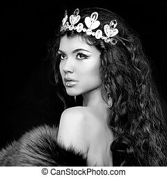 Luxury portrait. Woman with jewelry and coronet. Black and...