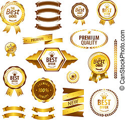 Luxury premium quality best choice labels isolated vector illustration