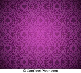 Luxury purple background with card symbols ornament