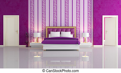 Purple and white bedroom. Minimal purple bedroom with white ...