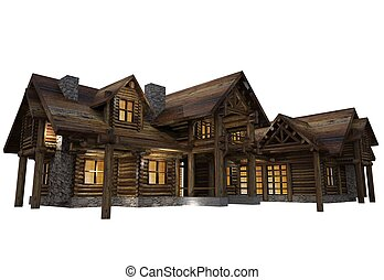 Log House Isolated - Luxury Reclaimed Wood Log House...
