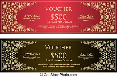 Luxury red and black Christmas voucher with golden...