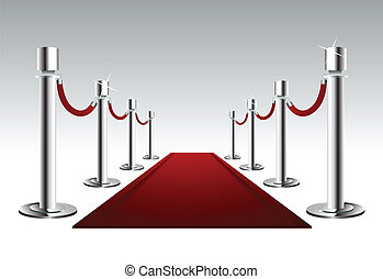 Vector illustration of a luxury red carpet with protection fence, on the grey background.