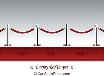 Luxury Red Carpet with Barrier Rope - Vector illustration of...