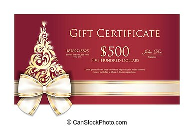 Luxury red Christmas gift certificate with cream ribbon and gold ornmament Christmas tree