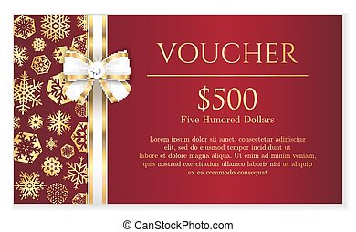 Luxury red Christmas voucher with golden snowflakes and ...