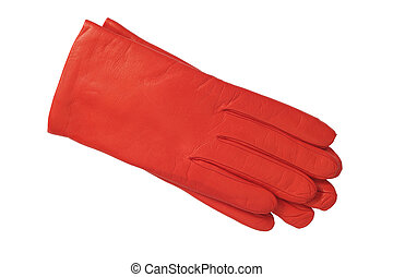 luxury red leather gloves isolated on white background