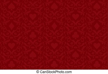 Luxury red poker background with card symbols