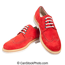 Luxury red stylish suede male shoes with white laces isolated on white background