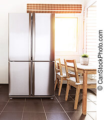 Luxury refrigerator - Luxury steel refrigerator on the...