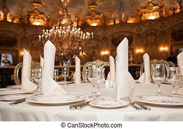 restaurant dinner table place setting: napkin, wineglass, plate