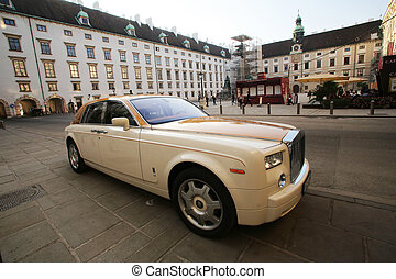 Luxury Rolls Royce car parked in Hofburg Palace in Vienna