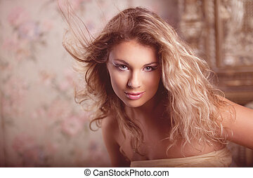 Luxury romantic girl fashion model
