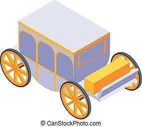 Luxury royal carriage icon, isometric style