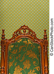 Luxury royal chair on abstract fabric background