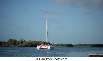 Luxury sailing catamaran yachts in the sea at sunny day