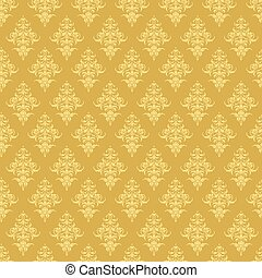 Luxury seamless golden floral wallpaper, Vector pattern for...
