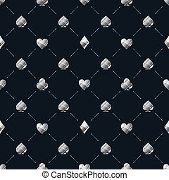 Luxury seamless pattern with bright glossy silver card suits icons like hearts, diamond, spades on beep blue