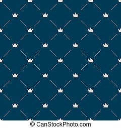 Luxury seamless pattern with white crowns on gray