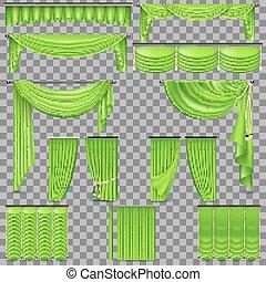 Luxury set of golden velvet silk curtains. EPS 10