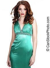 Luxury. Shapely Woman in Silky Sleeveless Classic Dress
