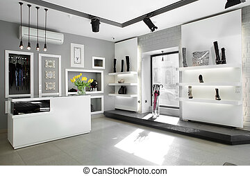 luxury shoe store with bright interior - bright large shoe ...