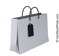 Silver Shopping Bag with a Black Tag