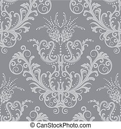 Luxury silver seamless floral vintage wallpaper. This image is a vector illustration.