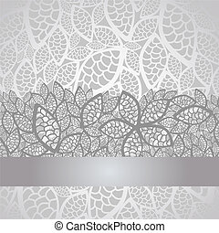 Luxury silver leaves lace border and background. This image is a vector illustration