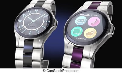Luxury smart watches on dark BG - Luxury smart watches on...