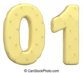 Luxury soft leather font 0 1 digits
